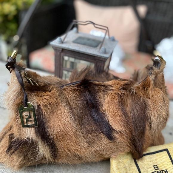 Authentic Fendi Lapin Fur FF charm Baguette Bag